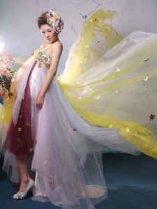 Strapless High-low Beaded Celebrity Homecoming Dresses in Multi-color