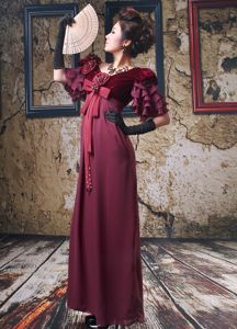 V-neck 1/2 Sleeves Beaded Burgundy Evening Homecoming Dress with Bowknot
