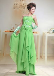 Sweden One Shoulder Spring Green Long Homecoming Dresses for Prom