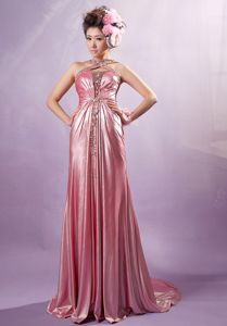 Light Pink Cross Straps Beaded Empire Floor-length Homecoming Dress
