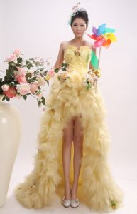 New Gold High-low Sweetheart Ruched Homecoming Dresses in Sweden