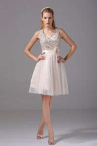 Exquisite Square Champagne Flower Homecoming Queen Dress with Paillette