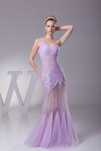 Lilac One Shoulder Mermaid Ruched Homecoming Dance Dress in Sweden