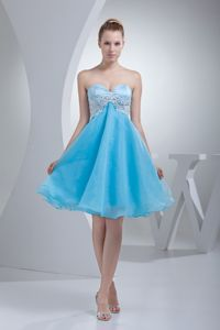 Pretty Baby Blue Sweetheart Homecoming Princess Dress with Appliques