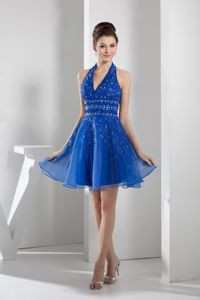 Blue Halter top Beaded Organza Homecoming Cocktail Dresses in Sweden