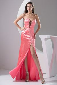 Pretty Strapless Beaded Homecoming Dress with High Slit in Spain