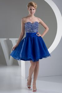 Royal Blue Sweetheart Organza Short Homecoming Dresses in Hollywood