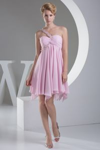 Simple One shoulder Asymmetrical Short Homecoming Dress with Ruffles