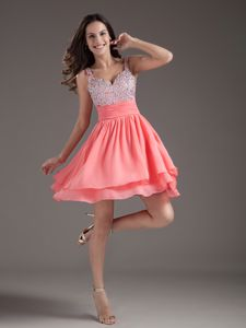 Watermelon Red Beaded Addison Vintage Homecoming Dresses with Straps
