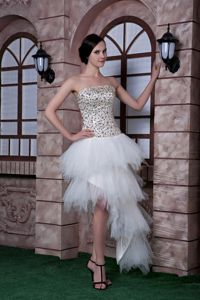 Sexy White Column Strapless High-low Homecoming Dresses in Concord