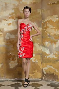 Sweetheart Taffeta Homecoming Dresses with Hand Made Flowers in Sweden