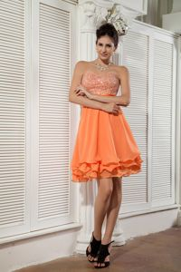 Orange Sweetheart Homecoming Queen Dresses with Beading in Bloomington