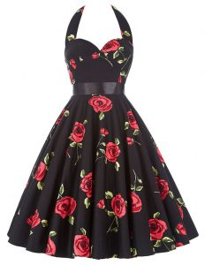 Best Halter Top Red And Black A-line Sashes ribbons and Pattern Junior Homecoming Dress Zipper Chiffon Sleeveless Knee Length
