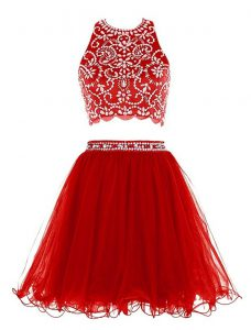 High Quality Scoop Mini Length Clasp Handle Junior Homecoming Dress Red for Prom and Party with Beading