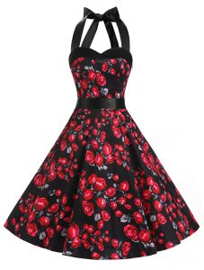 Red And Black A-line Halter Top Sleeveless Chiffon Knee Length Zipper Sashes ribbons and Pattern Prom Homecoming Dress