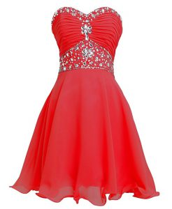 Beautiful Sleeveless Mini Length Beading and Belt Lace Up Hoco Dress with Red