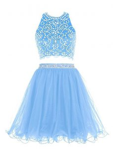 Superior Blue Scoop Neckline Beading Homecoming Gowns Sleeveless Backless