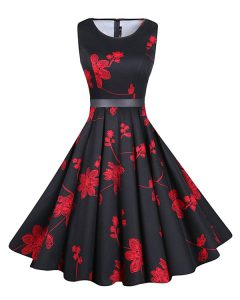 Comfortable Red And Black A-line Scoop Sleeveless Chiffon Knee Length Zipper Sashes ribbons and Pattern Homecoming Dresses