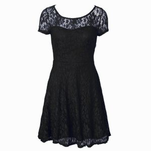 Scoop Short Sleeves Organza Tea Length Side Zipper Prom Homecoming Dress in Black with Lace