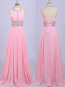 Halter Top Rose Pink Chiffon Zipper Homecoming Dress Online Sleeveless Floor Length Beading and Belt