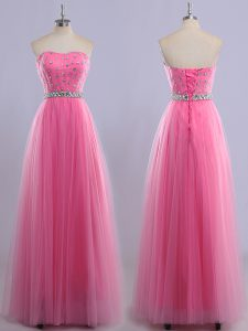 Rose Pink Tulle Lace Up Sweetheart Sleeveless Floor Length Homecoming Gowns Beading