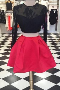 Ideal Scoop Red And Black Zipper Homecoming Dress Online Lace Long Sleeves Knee Length