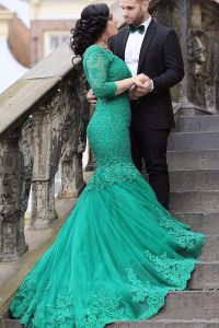 Fashion Mermaid V-neck Long Sleeves Homecoming Gowns With Train Chapel Train Beading and Appliques Green Tulle