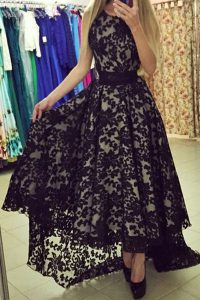 Fashionable Black Zipper Scoop Lace Prom Homecoming Dress Lace Sleeveless