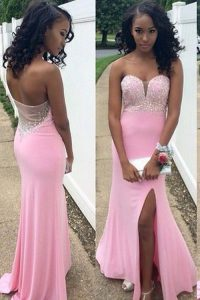Glorious Mermaid Floor Length Backless Homecoming Gowns Rose Pink for Prom and Party with Beading