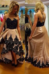 Deluxe Asymmetrical Champagne Homecoming Dress Online Satin Sleeveless Lace