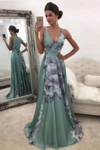 Romantic With Train Green Homecoming Dress Online Chiffon and Printed Sweep Train Sleeveless Pattern