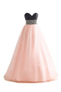 Sweetheart Sleeveless Lace Up Prom Homecoming Dress Pink And Black Organza