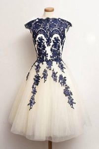 Best Selling Scalloped Blue And White Cap Sleeves Tulle Zipper Prom Homecoming Dress for Prom and Party