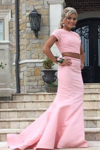 New Arrival Mermaid Rose Pink Scoop Neckline Ruching Homecoming Party Dress Sleeveless Backless