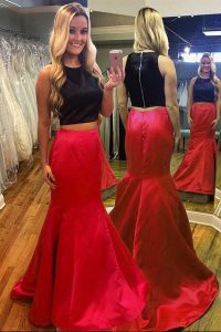Latest Mermaid Scoop Floor Length Red And Black Homecoming Dress Satin Sleeveless Ruching