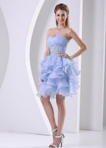 Lilac Ruffled Junior Homecoming Dresses with Ruches and Beading