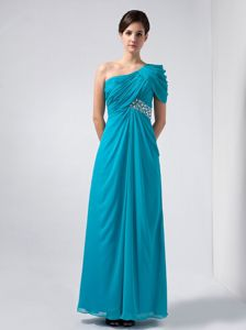 Turquoise One Shoulder Ankle-length Homecoming Dress with Beading