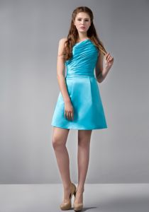 Aqua Blue One Shoulder Mini-length Homecoming Dress with Ruches
