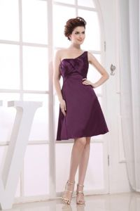 One Shoulder Purple Knee-length Homecoming Princess Dresses in Towson