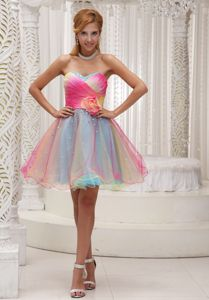 Organza Sweetheart Ruched Homecoming Dress with Hand Made Flower