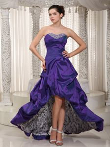 High-low Zebra Beaded Homecoming Dresses in Eggplant Purple in Elkhart