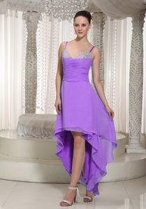 High-low Lavender Beaded Homecoming Dress with Spaghetti Straps