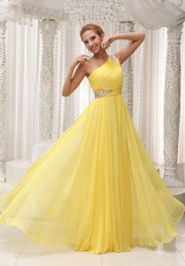 Beaded One Shoulder Ruched Evening Homecoming Dress in Yellow
