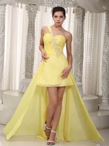 One Shoulder High-low Chiffon Beaded Homecoming Dresses in Yellow