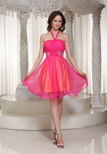 Hot Pink Halter Beaded Homecoming Dresses in Organza in Lombard