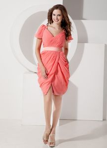 Watermelon V-neck Chiffon Junior Homecoming Dresses with Belt in Boise