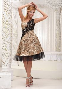 Appliqued One Shoulder Leopard Vintage Homecoming Dresses in Tucker