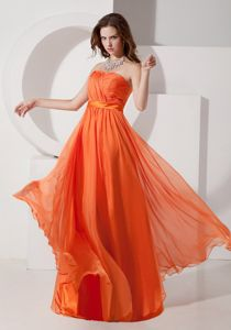 Orange Red Strapless Chiffon Homecoming Court Dresses with Ruches