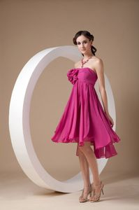 Strapless Hot Pink Homecoming Dresses with Hand Made Flowers in Atlanta