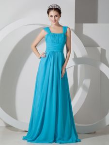 Chiffon Ruched Teal Homecoming Dresses with Brush Train in Athens